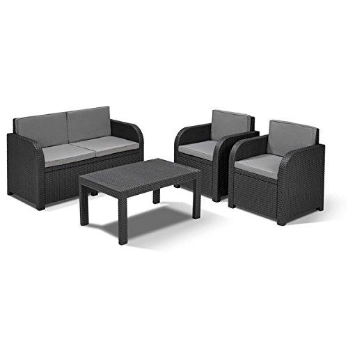 Allibert Lounge Sitzgruppe Mississippi Tisch Gartenmöbel Rattanmöbel Balkonmöbel