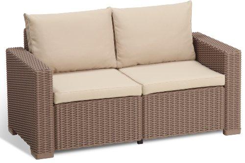 Allibert Lounge Sofa, Balkon, California, Capuccino, 2-Sitzer Lounge Sofa, 141 x 68 x 72 cm, rattan