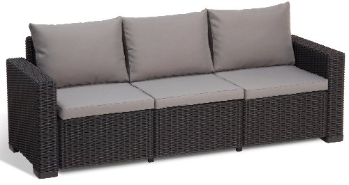 Allibert Lounge Sofa, Balkon, California, Grau, 3-Sitzer Lounge Sofa Rattan