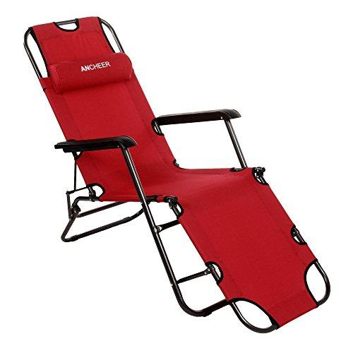 Ancheer Sonnenliege Gartenliege Strandliege Sitz-/Liegepositionen ,klappbare Sonnenliege Relaxliege Liegestuhl Klappliege Stahl 178 cm