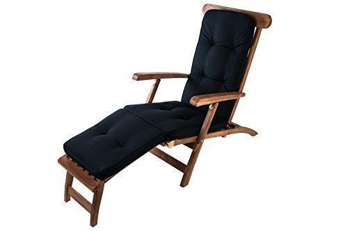 Auflage Teak Deckchair Relaxliege Liegestuhl Sonnenliege Gartenliege Gartenstuhl, Farbe:Tarim schwarz