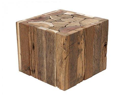 Brillibrum Design Beistelltisch/Hocker aus Treibholz - Quadratisch (Tisch klein: 25,0cm x 30,0cm)