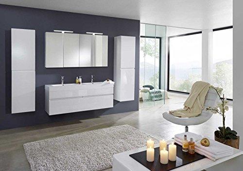 Bad11® - Badmöbelset PROMETHEUS Deluxe - 4 teilig hochglanz weiß mit Doppelwaschbecken und 2 x Spiegelschrank und 2 x Hochschrank Farbauswahl