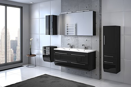 Bad11® - Badmöbelset ZESIRO CLASSIC in Hochglanz schwarz - 6 teiliges Komplettset mit Doppelwaschbecken inklusive Keramik-Waschbecken, Unterschrank Hochschrank und Hängeschrank bieten viel Stauraum, 2 x Spiegelschrank für extra breite Spiegelfläche, Farbauswahl
