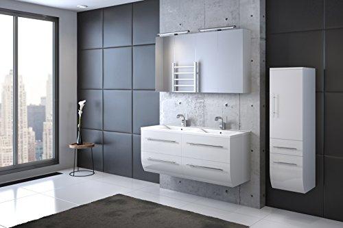 Bad11® - Badmöbelset ZESIRO CLASSIC in Hochglanz weiß - 4 teiliges Komplettset mit Doppelwaschbecken inklusive Keramik-Waschbecken, Hochschrank bietet viel Stauraum, 2 x Spiegelschrank, Farbauswahl