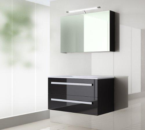Badmöbel set Atlantis Hochglanz/schwarz Korpus Schwarz 120cm besteht aus Spiegelschrank mit Beleuchtung, Waschbeckenunterschrank und Keramik Waschbecken