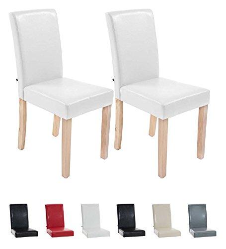 CLP 2x Esszimmer-Stuhl INA, Holzgestell natura, Bezug Kunstleder, Sitzhöhe 47 cm weiß