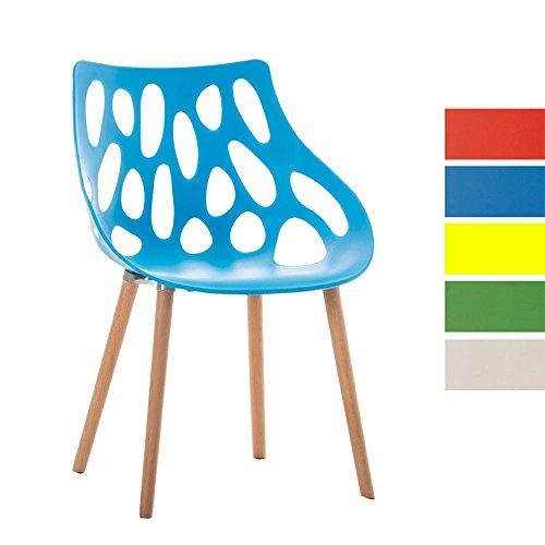 CLP Design Retrostuhl HAILEY mit pflegeleichter Kunststoff-Sitzschale und einer Sitzhöhe von 44 cm | Esszimmerstuhl mit Lehne und einem Vier-Fuß-Gestell aus Buchenholz | Besucherstuhl mit einer maximalen Belastbarkeit von 150 kg Blau
