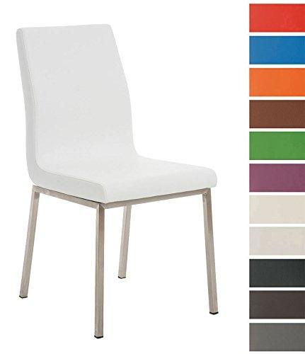 CLP Esszimmerstuhl COLMAR mit pflegeleichtem Kunstledersitz | Hochwertig gepolsterter Lehnstuhl mit robustem Edelstahlgestell | In verschiedenen Farben erhältlich Weiß