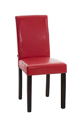 CLP Esszimmerstuhl INA mit schwarzem Holzgestell und Kunstlederbezug | Lehnstuhl mit einer Sitzhöhe von 47 cm | In verschiedenen Farben erhältlich Rot, Holzfarbe dunkelbraun