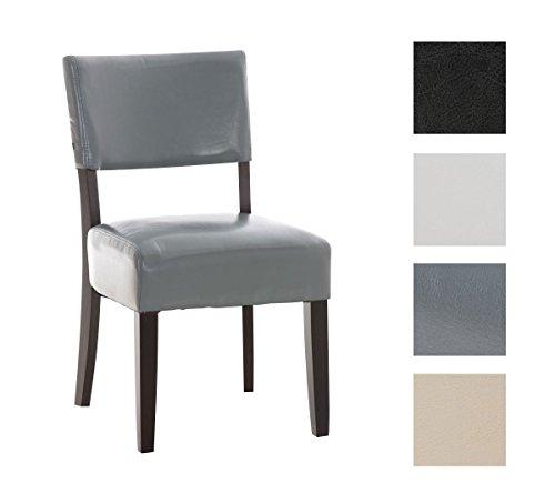CLP Bistrostuhl SOLLEY mit hochwertiger Polsterung und Kunstlederbezug | Esszimmerstuhl mit robustem Holzgestell | Lehnstuhl mit einer Sitzhöhe von: 47 cm | In verschiedenen Farben erhältlich Grau