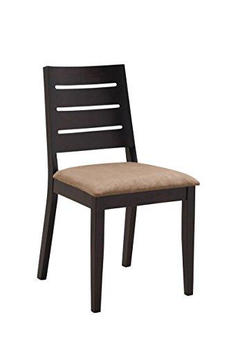 CLP Küchenstuhl JOY mit hochwertiger Polsterung und Microfaserbezug | Esszimmerstuhl mit robustem Holzgestell und einer Sitzhöhe von: 48 cm cappuccino/braun