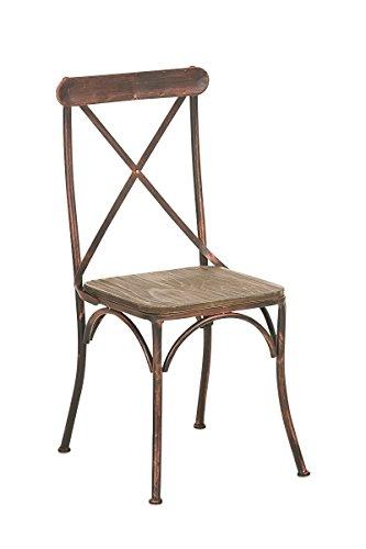 CLP Industrial Design Bistro-Stuhl BROMLEY, Materialmix aus Holz und Metall, Gastronomie geeignet Bronze