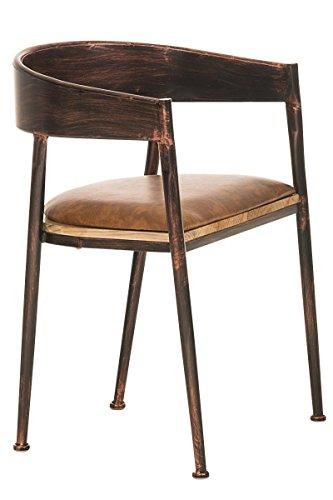 CLP Industrial Design-Stuhl BELVEDERE mit hochwertiger Polsterung und Kunstlederbezug | Metallstuhl mit einer Sitzhöhe von 48 cm Bronze