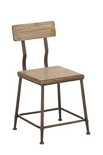 CLP Industrial Design-Stuhl QUEENS mit massivem Holzsitz und Rückenlehne | Bistrostuhl mit stabilem Metallgestell und einer Sitzhöhe von: 44 cm | In verschiedenen Farben erhältlich Bronze