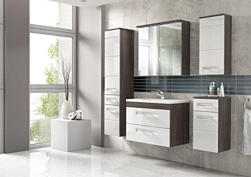 Cosmo 2 Badmöbel-Set / Komplettbad 6-teilig in Weiß Hochglanz / Avola Dekor, Waschtisch 80 cm, LED-Beleuchtung