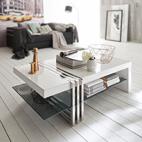 Couchtisch weiß Hochglanz mit Glasplatte Norte 120x70cm Glastisch