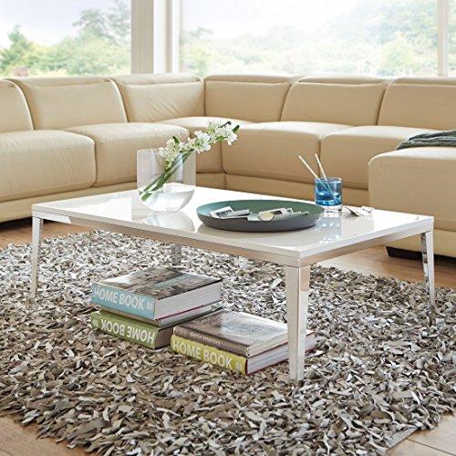 Couchtisch weiß Hochglanz Edelstahl Faro Modern Beistelltisch (120x70cm)