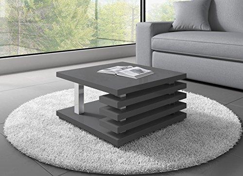 Couchtische Wohnzimmertische Beistelltisch Tisch Oslo 60 x 60 cm Grau Hochglanz