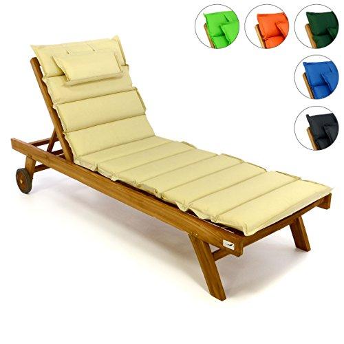 Divero Set Sonnenliege Holzliege Gartenliege Teak-Holz inkl. Räder verstellbares Kopfteil + Liegen-Auflage elfteilig aufrollbar wasserabweisend creme