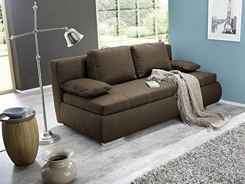 Dauerschläfer Schlafsofa Merlin 210x112cm braun, Sofa Boxspring Couch Doppelliege Schlafcouch