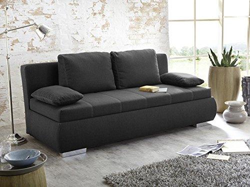 Dauerschläfer Schlafsofa Merlin 210x112cm dunkelgrau, Sofa Boxspring Couch Doppelliege Schlafcouch
