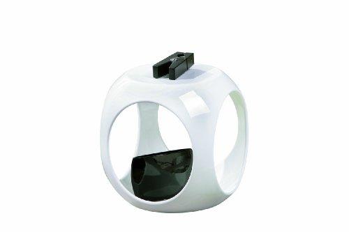 Design Beistelltisch 40 cm in Hochglanz mit Ablage Dekor wählbar, Farbe:Weiß