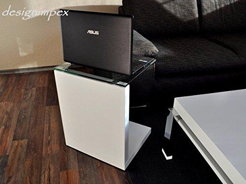 Design Beistelltisch Ecktisch Nachttisch Boxspringbett TP-1 weiß Hochglanz / Glas