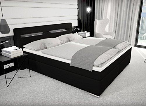 Designer Boxspring Bett Paris mit Bettkasten + LED Beleuchtung 180x200 cm Farbe schwarz mit Matratze Leder Bett Polsterbett Lederbett Boxspringbett günstig (180x200 cm mit 7 cm Gelschaum Topper)