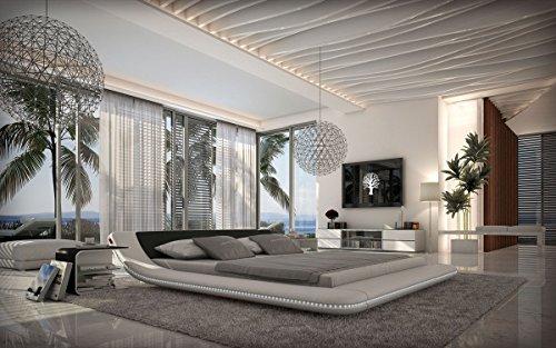 Designerbett Custo 180x200 cm LED-Beleuchtung weiß/schwarz