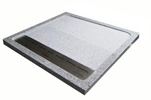 Duschwanne aus Naturstein mit Edelstahlgitter, Granit, 90*90cm, weiß gesprenkelt