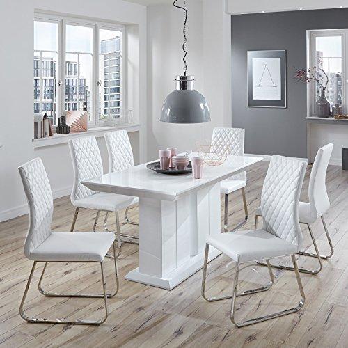 Essgruppe Hochglanz weiß modern design Lisa Esszimmerstühle Essecke Kunstleder Edelstahl (160 x 90 cm)
