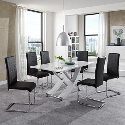 Essgruppe Lara Esstisch Hochglanz Weiß 6 Freischwinger Schwarz Modern Esszimmer Sitzgruppe