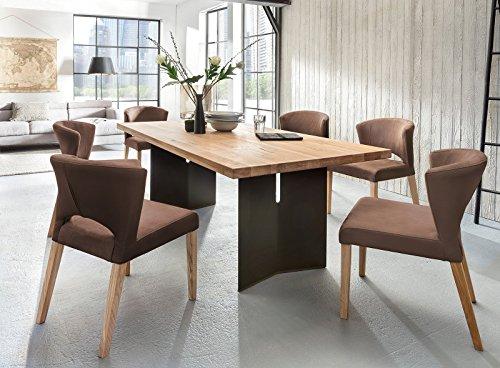 Essgruppe Malte Alteiche Massiv modern design Essecke Holz Polsterstühle Runa (200x100cm)
