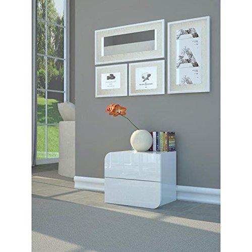 GOCCIA Nachttisch 50cm weiß Hochglanz lackiert