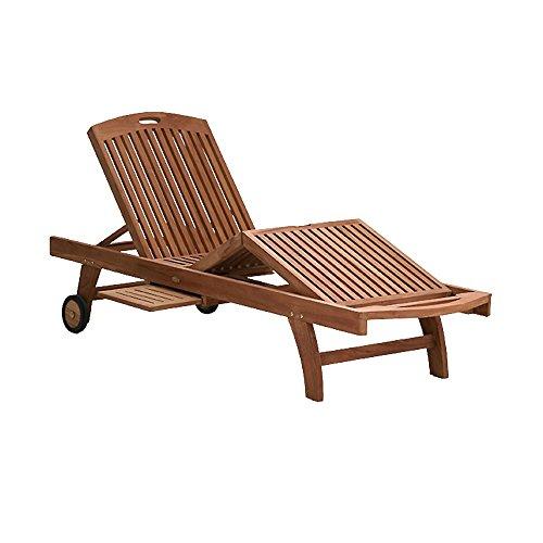 Gartenliege verstellbar Holz massiv Teakholz unbehandelt 65x230cm Rollen Sonnenliege - Lana