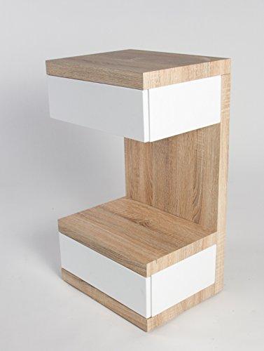 HL Design 01-08-108.2 Boxspring-Nako Linus, 32 x 32 x 70 cm, Nako, Korpus Sonoma eiche hell, Schubladen weiß hochglanz push-to-open Rollen verdeckt