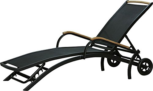 IB-Style DIPLOMAT Designliege | ALU SCHWARZ + TEAKHOLZ + Textilen SCHWARZ | Rolliege Liege Sonnenliege mit Rollen Gartenmöbel Gartenliege Relaxliege