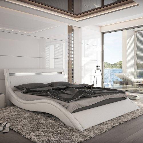 Innocent Polsterbett Kunstleder mit LED-Beleuchtung Modani weiß, 180x200 cm