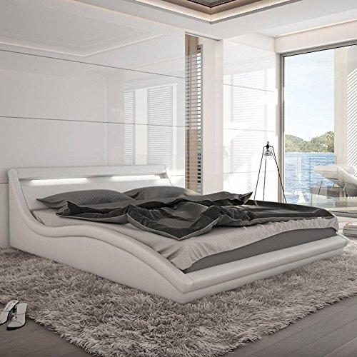 Innocent Polsterbett Kunstleder weiß mit LED-Beleuchtung Zuma 140x200 cm