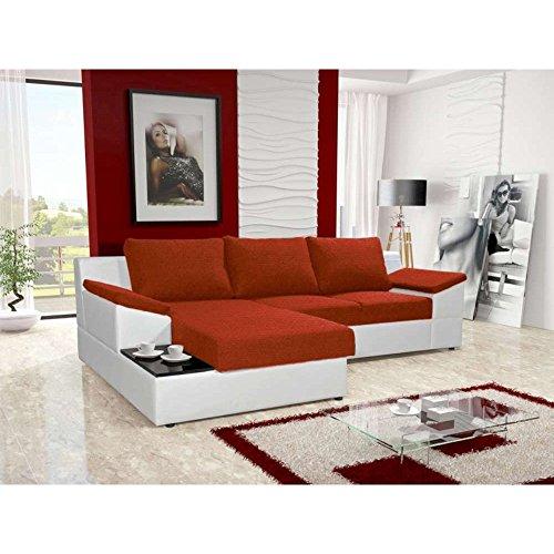 JUSTyou Atlanta Ecksofa Polsterecke Schlafsofa Stoffbezug Kunstleder (BxLxH): 166x262x86 cm Weiß Rot Ottomane links