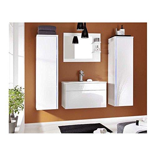JUSTyou Dream Badezimmerset Badmöbelset Waschplatz (4-teilig) Farbe: Weiß Hochglanz