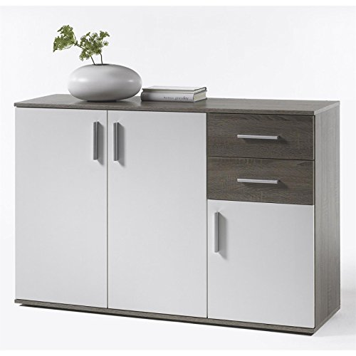 kommode sideboard schrank freddy120x82x35 cm in eiche sonoma dunkel weiss mit 3 t ren und 2. Black Bedroom Furniture Sets. Home Design Ideas