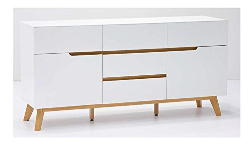 lifestyle4living kommode sideboard wei matt eiche retro modern wohnzimmerkommode. Black Bedroom Furniture Sets. Home Design Ideas