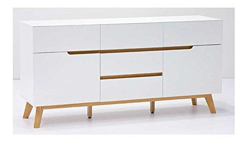 lifestyle4living Kommode, Sideboard, weiß, matt, Eiche, retro, modern, Wohnzimmerkommode, Wohnzimmerschrank, Schlafzimmerkommode