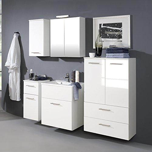 Komplett Badmöbel Set Hochglanz weiß Badezimmermöbel Badezimmer Bad Waschplatz