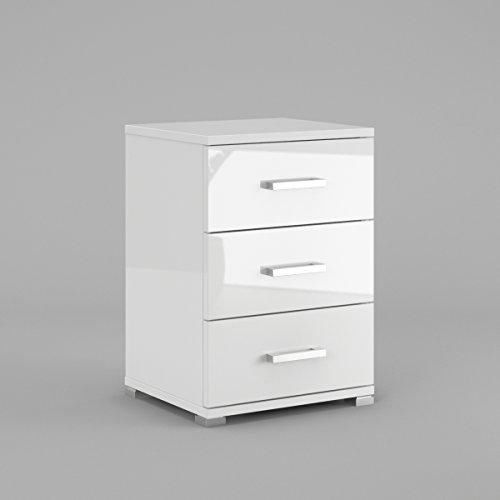 Labi Möbel N3 3x Schubladen Schrank Kommode Nachttisch Nachtschrank Nachtkästchen Nachtkonsole Weiß Hochglanz