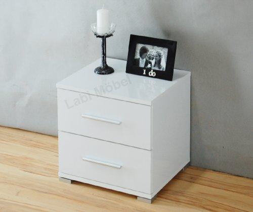 Labi Möbel Nachtschrank Nachttisch Nachtkonsole N2 NELI in Weiß Hochglanz