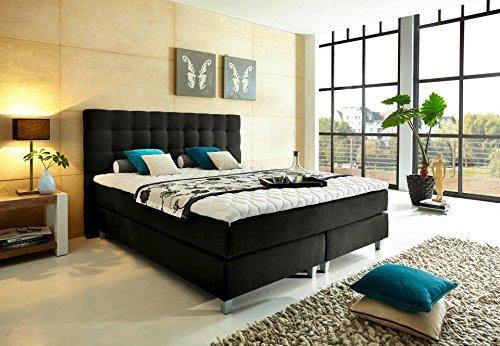 boxspringbettenshop24.de - Luxus Boxspringbett mit TALALAY LATEX Topper 180x200 H2 H3 (für eine Person H2, für die andere Person H3), TTF Tonnentaschenfederkerne, dunkelgrau - beste Qualität zum top Preis - Premium Bett
