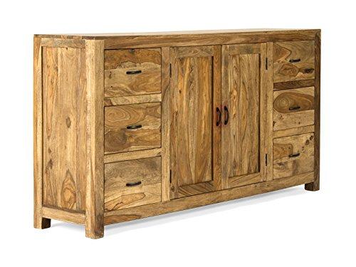 massivum Sideboard Palison 180x95x42 cm aus Palisander-Holz massiv natur lackiert mit 2 Türen und 6 Schubladen
